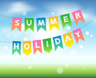 Summer holidays. Colorful flags in the sky. Vector illustration for banners, poster, greeting card Stock Photography