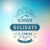 Summer holidays coming curl poster Stock Images