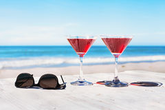 Summer holidays concept, two cocktails Stock Photography