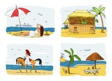 Summer holidays concept vector illustration. Woman  under umbrella next to sea. Horse riding. Bar on a beach Stock Photos