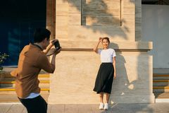 Summer holidays and dating concept - couple taking photo picture in the city.  stock images