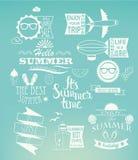 Summer holidays design elements on blue background. Stock Image