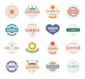 Summer Holidays Design Elements and Typography Set Retro Vintage Templates. Stock Photos