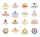 Summer Holidays Design Elements and Typography Set. Retro Vintage Templates Labels or Badges Stock Photography