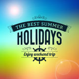 Summer holidays enjoy weekend trip typography poster Stock Photos