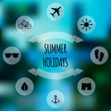 Summer holidays flat icons on blurred background Stock Photos