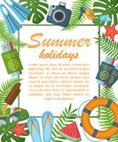 Summer holidays flat poster royalty free illustration