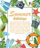 Summer holidays flat poster vector illustration