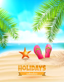 Summer holidays. Flip-flops and seastar on the beach - Summer holidays background Royalty Free Stock Photo