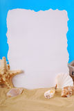 Summer holidays frame. Blank card on the beach as summer holidays frame Royalty Free Stock Images