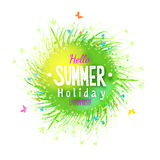 Summer holidays grass circle label with floral elements Royalty Free Stock Photos