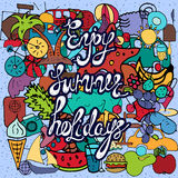 Summer holidays hand drawn color signs and symbols Royalty Free Stock Image