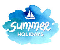Summer holidays hand drawn lettering on a Royalty Free Stock Photos
