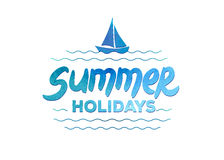 Summer holidays hand drawn lettering on a Royalty Free Stock Image