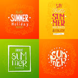 Summer holidays hand drawn posters Royalty Free Stock Images