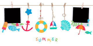 Summer holidays. Hanging summer beach products and blank photo.  Stock Photography