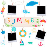 Summer holidays. Hanging summer beach products and blank photo.  Stock Images