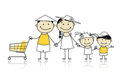 Summer holidays. Happy family with shopping basket Stock Photography