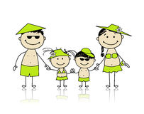 Summer holidays. Happy family for your design Royalty Free Stock Photo
