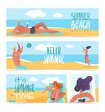 Summer holidays horizontal banners vector illustration