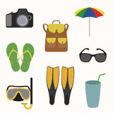 Summer holidays icon set. Fins, sunglasses, umbrella, cocktail sneakers satchel camera mask vector illustration