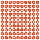100 summer holidays icons hexagon orange. 100 summer holidays icons set in orange hexagon isolated vector illustration Stock Photos