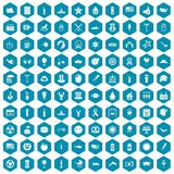 100 summer holidays icons sapphirine violet. 100 summer holidays icons set in sapphirine hexagon isolated vector illustration Stock Photo
