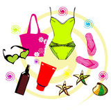 Summer holidays icons set. Woman's set for swimming at the sea. Holidays icons set stock illustration