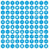 100 summer holidays icons set blue. 100 summer holidays icons set in blue hexagon isolated vector illustration stock illustration
