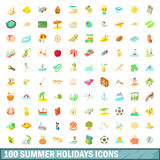 100 summer holidays icons set, cartoon style. 100 summer holidays icons set in cartoon style for any design vector illustration Royalty Free Stock Images