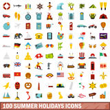 100 summer holidays icons set, flat style Royalty Free Stock Image