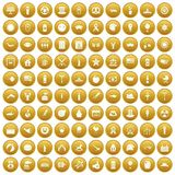 100 summer holidays icons set gold. 100 summer holidays icons set in gold circle isolated on white vector illustration Stock Photo