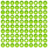 100 summer holidays icons set green. 100 summer holidays icons set in green circle isolated on white vectr illustration Stock Photography