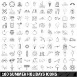 100 summer holidays  icons set, outline style Royalty Free Stock Images