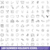 100 summer holidays icons set, outline style Royalty Free Stock Photos