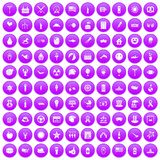 100 summer holidays icons set purple. 100 summer holidays icons set in purple circle isolated on white vector illustration Royalty Free Stock Photography