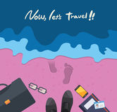 Summer holidays  illustration,flat design beach and business object concept Stock Photo