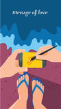 Summer holidays  illustration,flat design beach and business object concept Stock Image