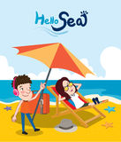 Summer holidays  illustration,flat design beach on the couple, concept Royalty Free Stock Photo