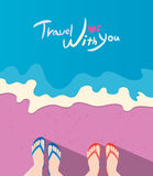 Summer holidays  illustration,flat design beach and couple travel concept Royalty Free Stock Photography