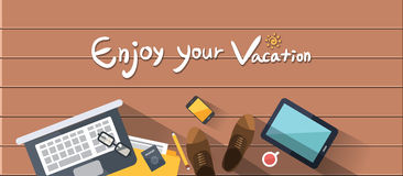 Summer holidays  illustration,flat design beach and family business man concept Stock Photography