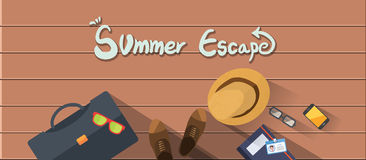 Summer holidays  illustration,flat design beach and family business man concept Stock Photos