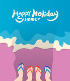 Summer holidays  illustration,flat design beach and family sandals concept Stock Photography