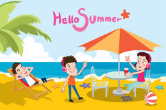 Summer holidays  illustration,flat design beach and listening to music concept.  Stock Photos