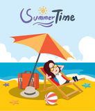 Summer holidays  illustration,flat design beach on the parasol girl, concept Stock Images
