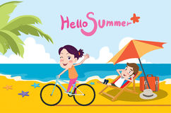 Summer holidays  illustration,flat design beach and riding bike concept Royalty Free Stock Image