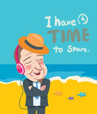 Summer holidays  illustration,flat design business man and music concept Royalty Free Stock Image