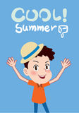 Summer holidays  illustration,flat design cool summer and cute kid concept Royalty Free Stock Photography