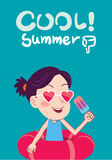 Summer holidays  illustration,flat design cute kid and icecream concept Stock Photo