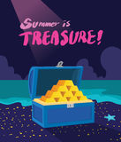 Summer holidays  illustration,flat design exciting treasure hunting concept Royalty Free Stock Photos